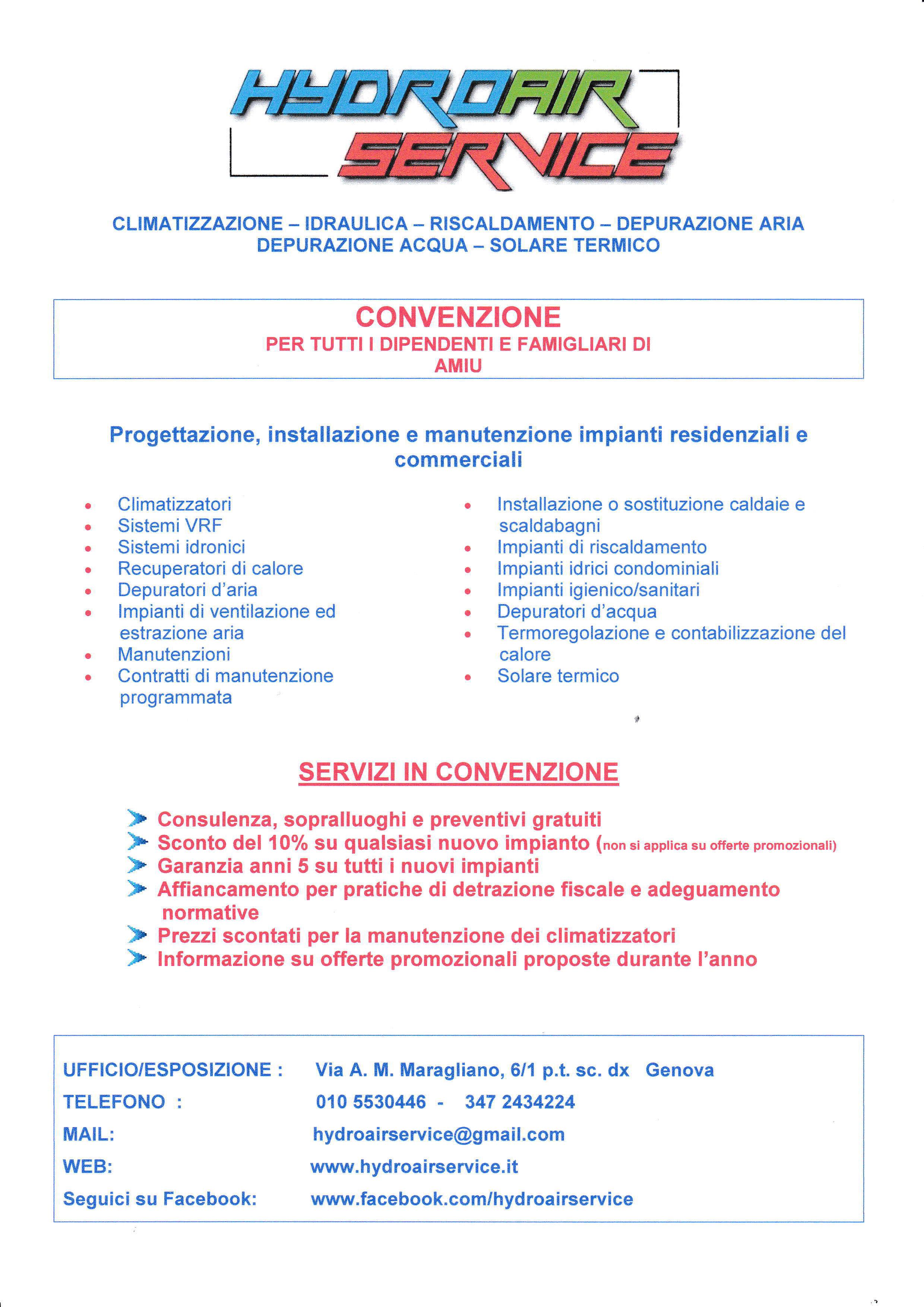 Volantino convenzione hydroair service