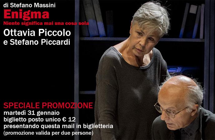 Enigma con Ottavia Piccolo il 31/1 al Teatro Duse in promozione a 12 euro