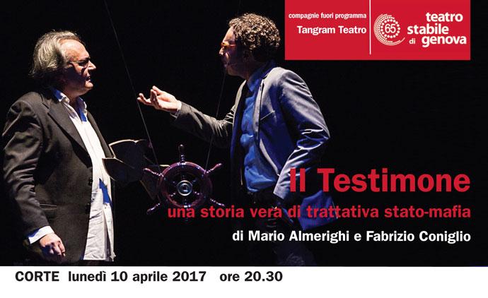 Il Testimone – una storia vera di trattativa stato-mafia, lunedì 10 aprile al Teatro della Corte