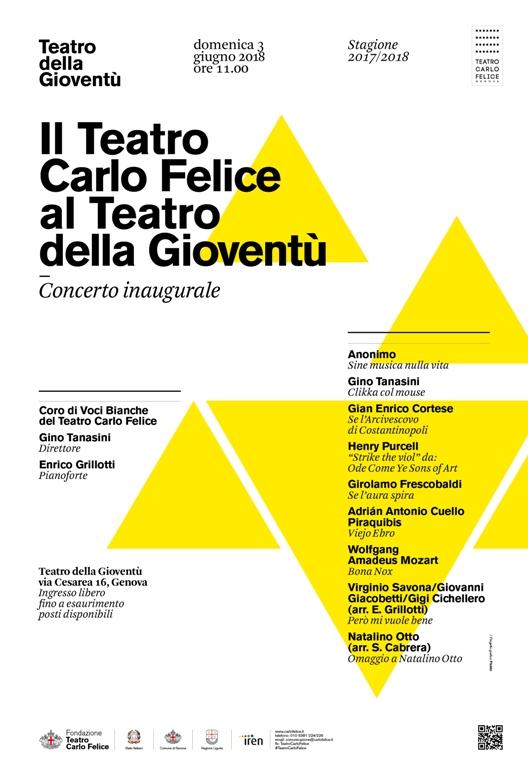 Concerto riapertura Teatro della Gioventù – Domenica 3 Giugno 2018 – ore 11.00, ingresso gratuito
