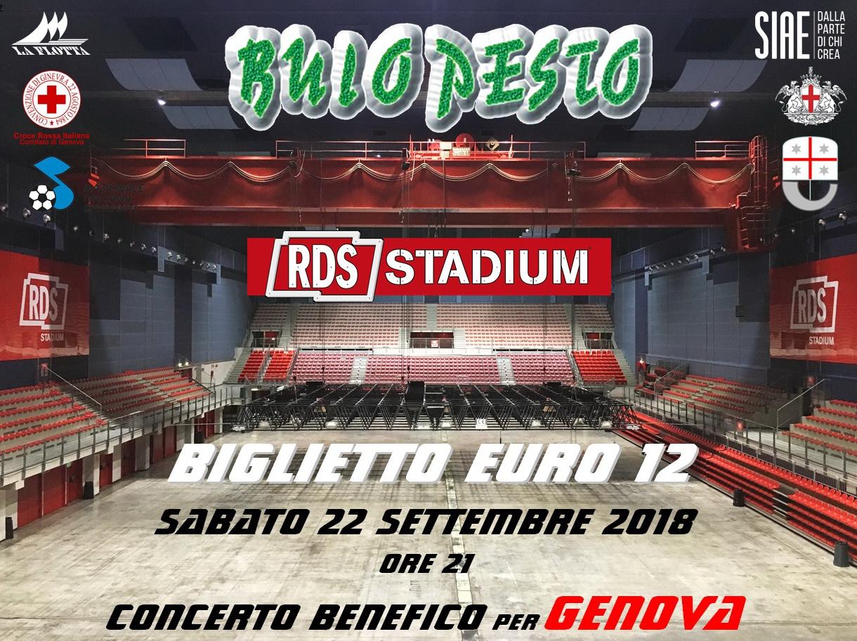 """Buio Pesto per Genova"" all'RDS Stadium"