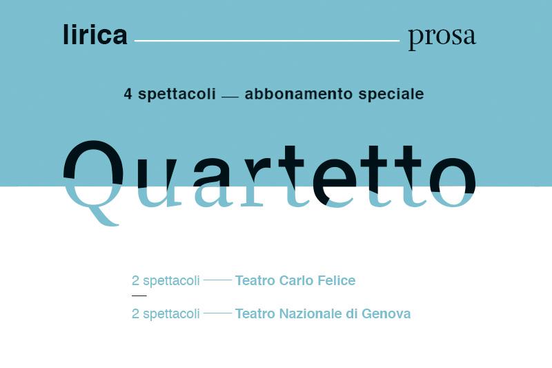 """Speciale abbonamento """"Quartetto"""" Teatro Nazionale Genova e Teatro Carlo Felice"""